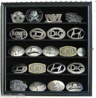 "Small 3"" Belt Buckle Display Case Wall Shadow Box Cabinet, Glass Door, BCLC01"