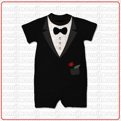 New Baby Boy Formal Tuxedo Suit Style One-Piece Romper Size 000,00,0 (3-12 Mths)