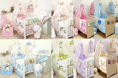 Baby Girl / Boy 5pc NURSER BABY COT SET CANOPY+ HOLDER/BUMPER/PILLOW QUILT CASE
