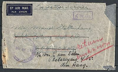 Singapore 1946 Fieldpost Airmailcover to Bandoeng re-directed