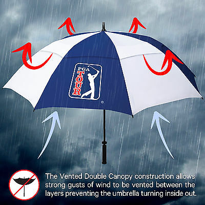 PGA TOUR Windproof Double Canopy Large Sports Golf Umbrella - Automatic Opening