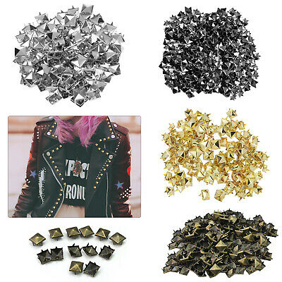 50 or 100 Spike Square Studs Rivets - Bag Belt Leathercraft, 6, 8, 9 or 12mm
