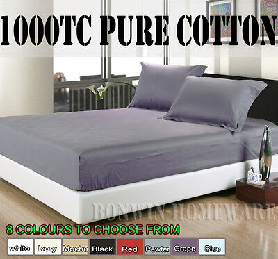 1000Tc 100% Egyptian Cotton Collect Fitted /Bottom Sheet & Pillowcases 9 Colours