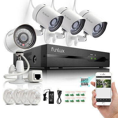 Funlux 720P 4CH HD Network NVR 2000TVL PoE IP CCTV Security Camera System NHD
