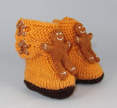 Printed Instructions Baby Gingerbread Man Booties Bootees Knitting