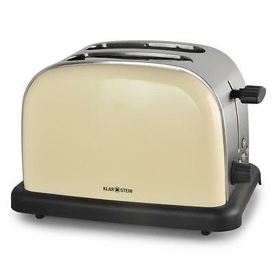 Retro Look Stainless Steel 2-Slice Toaster Cream Chrome *free P&p Special Offer