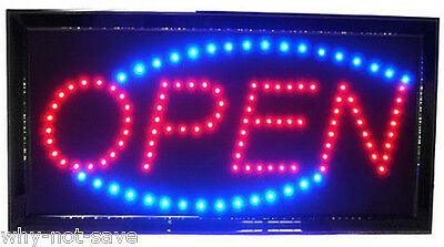 LED Neon Animated electric Red & Blue oval open sign light for store busines Bar