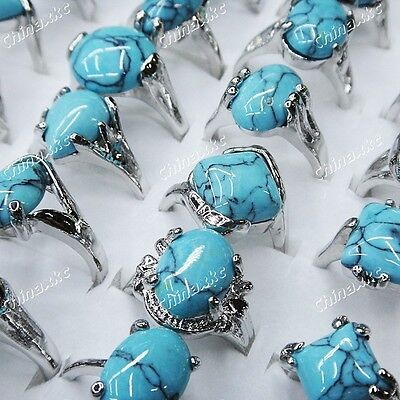 10pcs Wholesale Jewerly Lots Fashion Turquoise Stone Mixed Silver P Rings Unisex