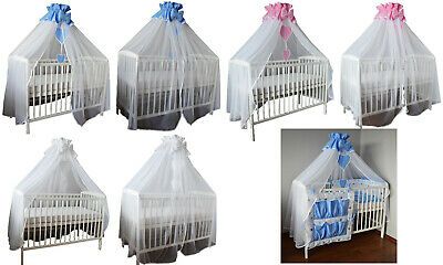 Baby Boy/Girl 4 Sides Canopy + Holder -Nursery Cot Bed Set - Baby Cot Set