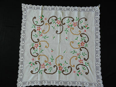 vintage  hand-embroidered tablecloth   30''/29''n1566