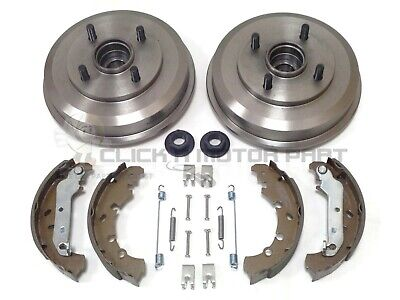 Ford Fiesta Mk6 Rear 2 Brake Drums & Shoes + Wheel Bearings Fitted & Fitting Kit