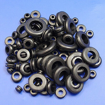 60 x ASSORTED WIRING GROMMET PLUGS GROMMETS 6 to 25MM WIRE CABLE OPEN RING HOLE