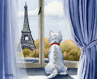 "WEST HIGHLAND TERRIER ART Print ""Westie in Paris"" 11 X 14 Signed by Artist DJR"