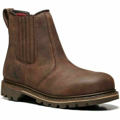 V12 RAWHIDE DEALER CHELSEA STEEL TOE CAP SAFETY WORK BOOTS Brown V1231