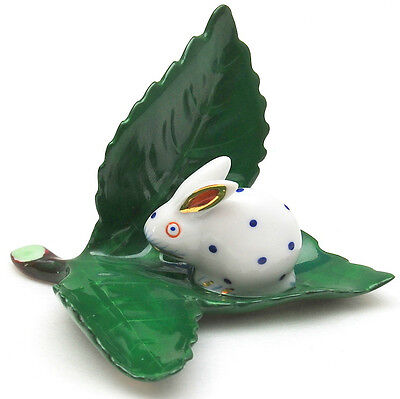 Herend Hungary Rabbit (blue spots) on Leaf Place Card Holder Mint