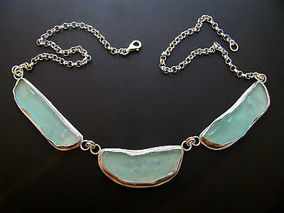 Amazing 925 Silver ONE OF A KIND Bluish Ancient Roman Glass Necklace