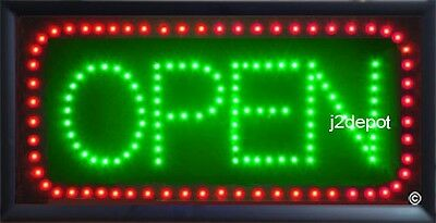 US Seller Animated Led Neon green light OPEN Sign on/off Switch/Chain 19x10