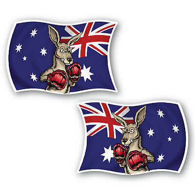 Aussie flag boxing kangaroo sticker 2 pack 100mm water/fade proof vinyl