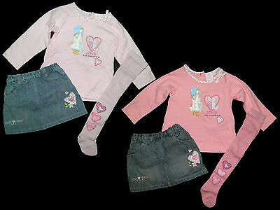 Holly Hobbie SARAH KAY Set Kombi Rock Shirt Strumpfhose Jeansrock 68 74 80 86 92