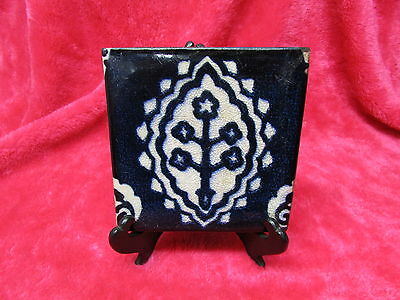 """Flow Blue Antique Ceramic Red Clay Tile, Nice Design, ISLAMIC ?  1/2"""" Thick ."""