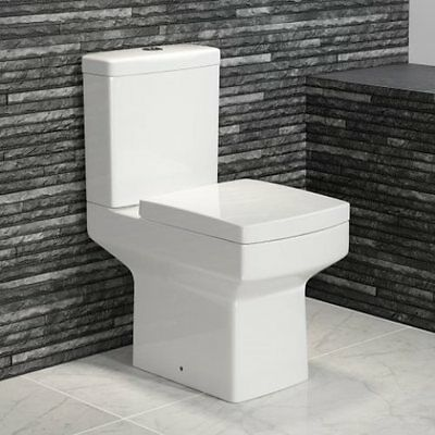 Modern White Ceramic Close Coupled Toilet & Soft Close Seat (Square/Compact WC)
