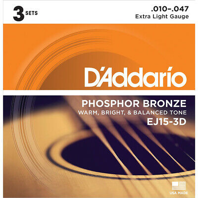 D'addario 3 Sets EJ15 Extra Light Acoustic Guitar Strings EJ 15 3D Pack 10-47