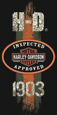 "Harley Davidson Towel Beach Bath Motorcycle Biker ""inspected Approved"" 30"" X 60"""