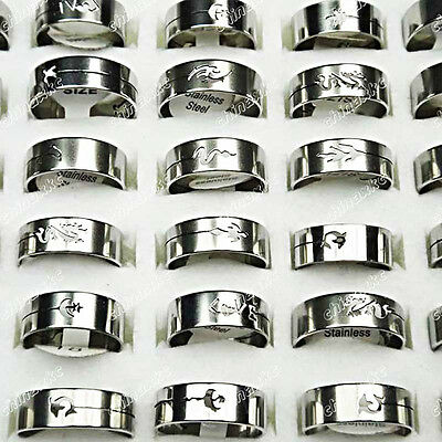 50pcs Wholesale jewelry lots Mixed stainless steel Fashion Rings Freeshipping