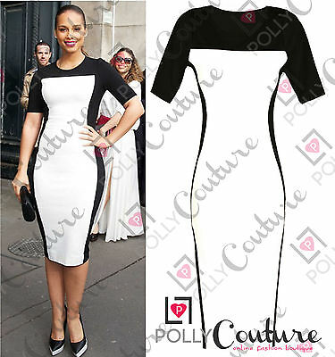 Womens Celeb Monochrome Black White Ladies Pencil Summer Tea Bodycon Midi Dress