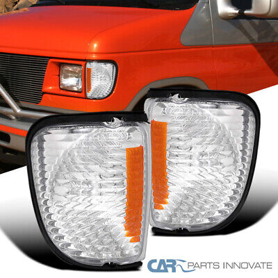 1992-2007 Ford Econoline Van Front Signal Corner Lights Clear Amber