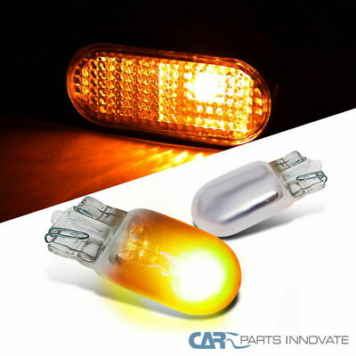 2x Amber Chrome T10 168 194 Wedge Light Car Side Turn Park Signal Bulb