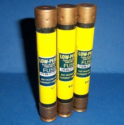 Bussmann Low Peak Dual-Element Time Delay 2-1/2A Fuses Lps-Rk-2-1/2Sp *lot Of 3*