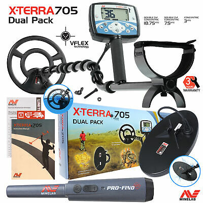 Minelab X-Terra 705 Dual Pack Metal Detector with 2 Coils & Pro-Find PinPointer