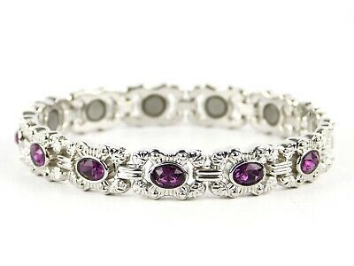 NEW Ladies Magnetic Bracelet Deep Purple Colour Crystals Magnet Therapy Boxed