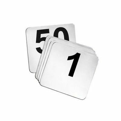 Table Numbers, Ranged 1-50, Black on White, Plastic, 105 x 95mm (Larger)