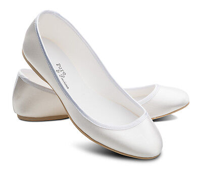 White Bridesmaids Flower Girl Wedding Bridal Pumps Flats Shoes All Sizes LUCY