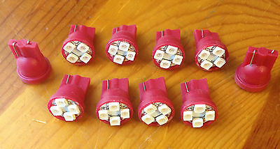 10 Red Dodge *SUPER BRIGHT* 12V LED 194 Wedge Instrument Panel Light Bulbs NOS