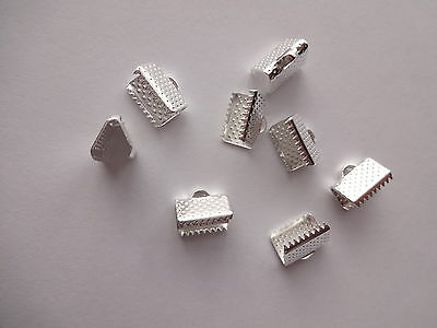 25/50/100 Bright Silver Plated Ribbon Cord End Clamps Foldover Crimp10mm x8mm