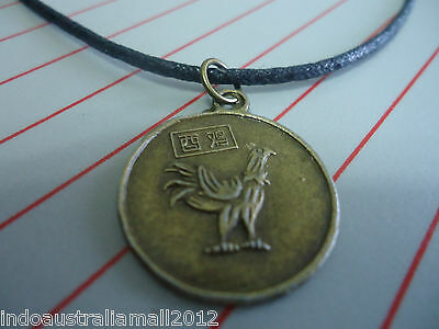 Chinese Zodiac Bronze Metal Rooster and Quan Yin Fortune Pendant on Black Cord