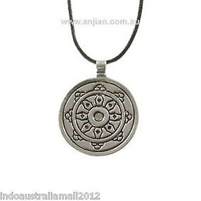 Buddhist  Wheel  of Dharma Antique Silver Pendant on Black Cord (OP068)