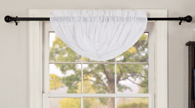 WHITE RUFFLED Balloon Valance Sheer Unlined Farmhouse Frilly Ruffles Classic VHC