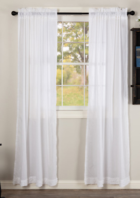 WHITE RUFFLED Sheer Panel Set Unlined Country Frilly Ruffles Curtains Window VHC