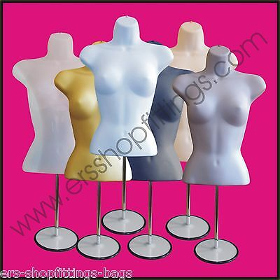 Female Mannequin Freestanding 3Qtr Body Form Top Table Counter Round Stand
