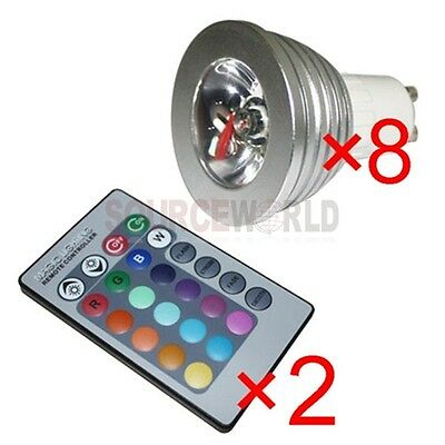 8x gu10 3w 16 color changing rgb led light bulb lamp 85 265v 2 ir remote control. Black Bedroom Furniture Sets. Home Design Ideas