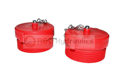 """2pk Fire Hydrant Adapter Plug and Chain 2-1/2"""" NST(M) Polycarbonate Red"""