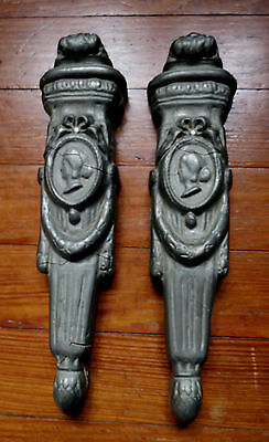 ANTIQUE TORCH WALL ORNAMENTS with WOMAN - WOOD & PLASTER - DECORATIVE - 19th C