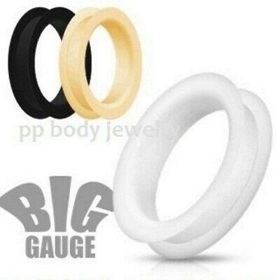 "PAIR 1-1/8"" to 2"" Ultra Soft Silicone Flexible Double Flat Flared Tunnel Plugs"