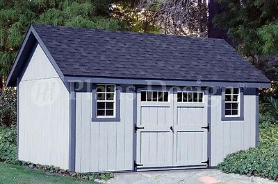 Storage Shed Plans 12' x 14' Gable Roof Design #D1214G, Material List Included