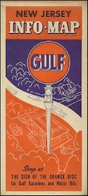 1937 GULF OIL COMPANY Road Map NEW JERSEY Atlantic City Ventnor Somers Point
