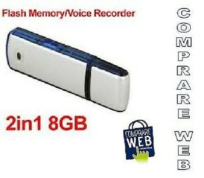 Registratore Vocale Audio 8Gb Spia Cimice Spy Pendrive Voice Recorder Pen Drive